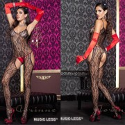 MUSIC LEGS  CATSUIT IN PIZZO APERTURE LATERALI XL