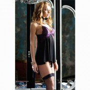 CHILIROSE BABYDOLL IN TULLE PIZZO NERO VIOLA