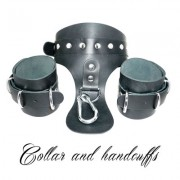 COLLAR AND HANDCUFFS ATTACHED BY CARABINER-FETISH LOVE EASY BLACK