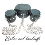 COLLAR WITH HANDCUFFS-COLLARE-MANETTE-BDSM-FETISH LOVE EASY BLACK