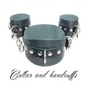 COLLAR AND HANDCUFFS-COLLARE-MANETTE-BDSM-FETISH LOVE EASY BLACK